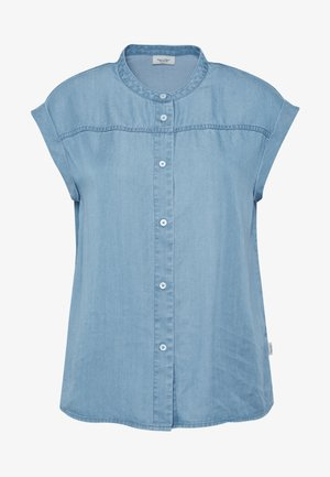 SHORT SLEEVE STAND COLLAR - Bluser - blue
