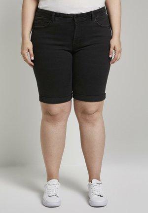 Denim shorts - used mid stone black denim