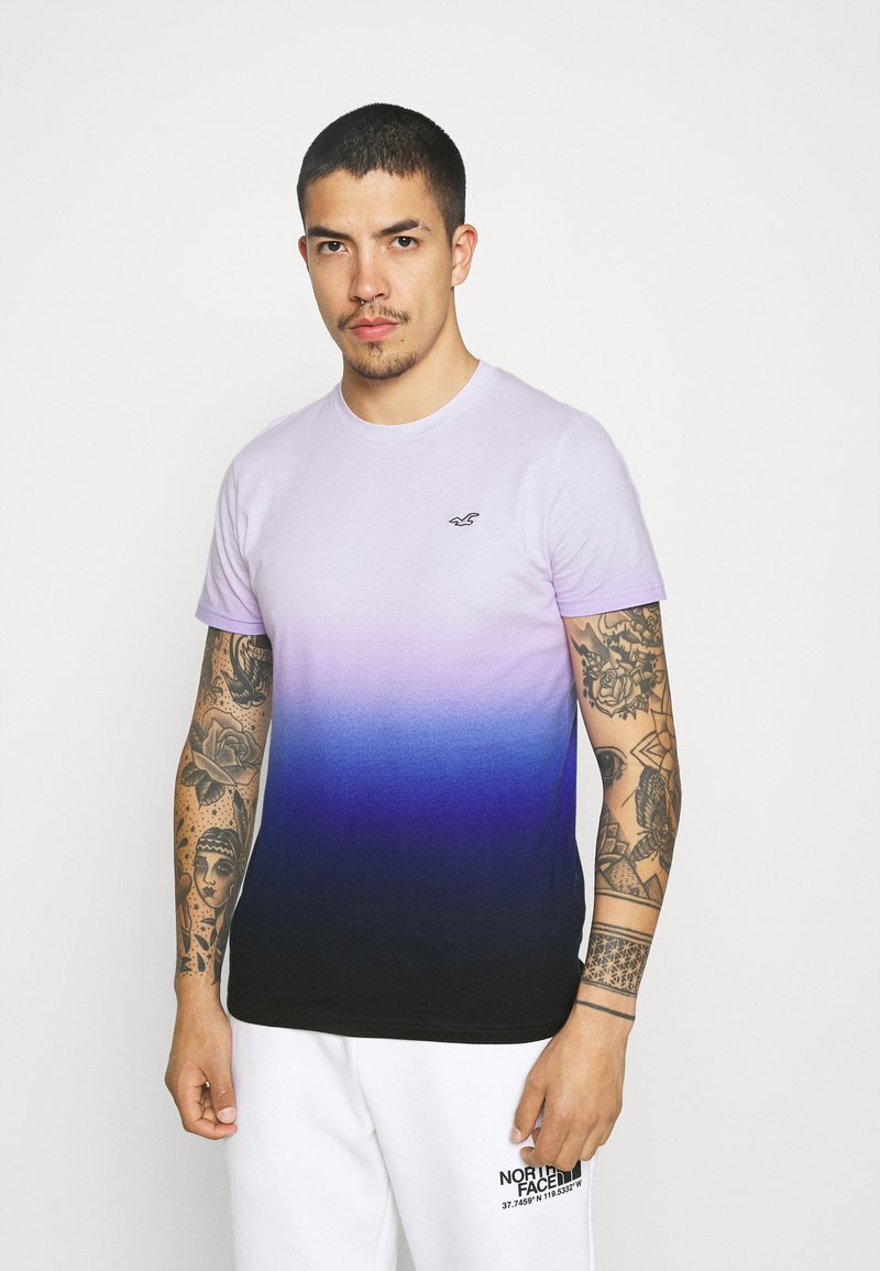 Hollister Co. - CREW OMBRE - T-shirt med print - purple/navy