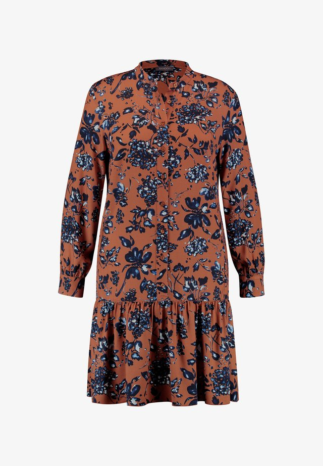 MIT BLUMENPRINT  - Shirt dress - caramel brown gemustert