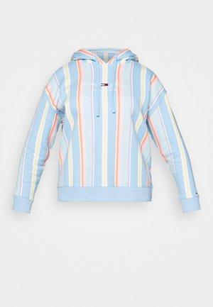 STRIPE HOODIE CURVE - Sweatshirt - light powdery blue
