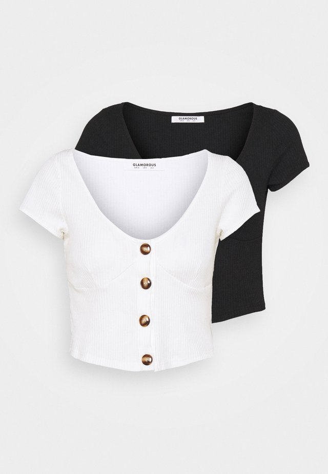 FITTED CROP WITH SHORT SLEEVES AND LOW NECKLINE 2 PACK - Triko s potiskem - black/white