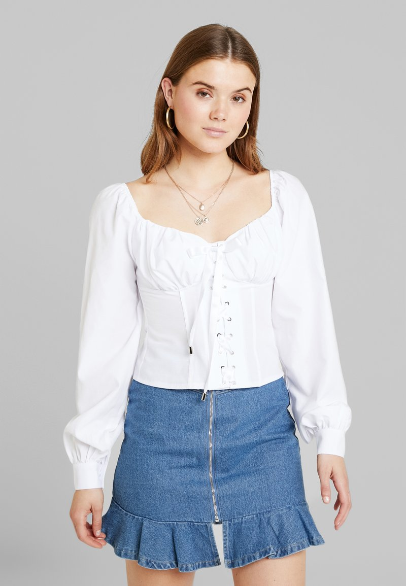 NA-KD - ADORABLE CARO CUP BLOUSE - Pusero - white