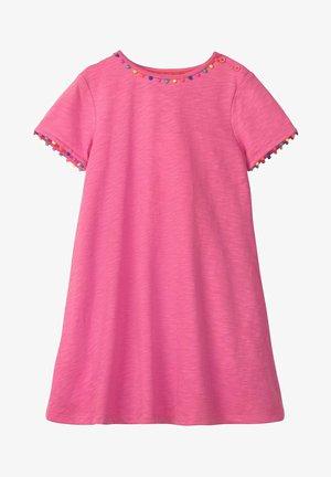 MIT REGENBOGENBORTEN - Jersey dress - helles pink