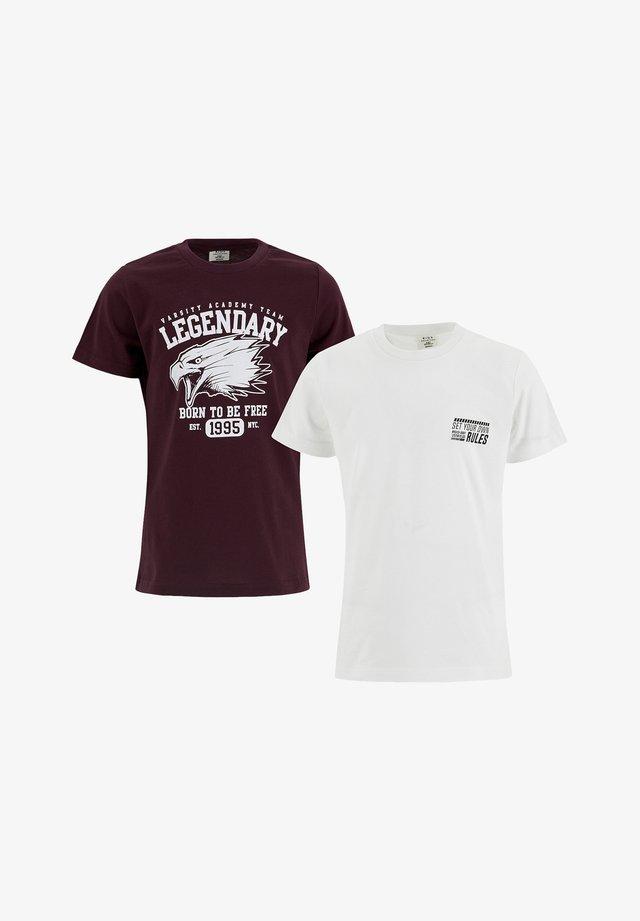 2 PACK - T-shirt con stampa - bordeaux