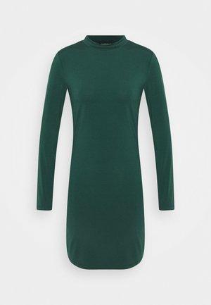 Mini high neck long sleeves bodycon dress - Vestido de tubo - dark green