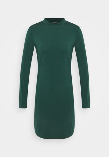 Mini high neck long sleeves bodycon dress - Etuikjole - dark green