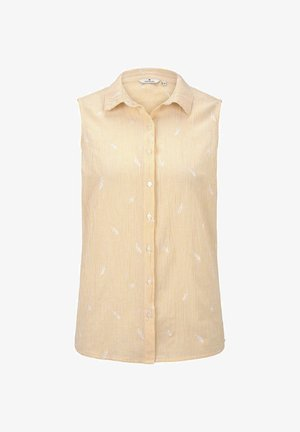 TOM TAILOR BLUSEN & SHIRTS ÄRMELLOSE HEMDBLUSE MIT STICKEREIEN - Button-down blouse - yellow/white