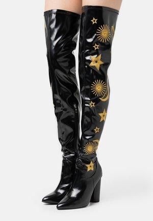 VEGAN ASTRID - Boots med høye hæler - black/gold