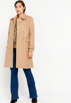 LONG WITH SHINY BUTTONS - Classic coat - beige