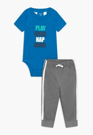 PLAY HARD SET - Kangashousut - blue/mottled grey