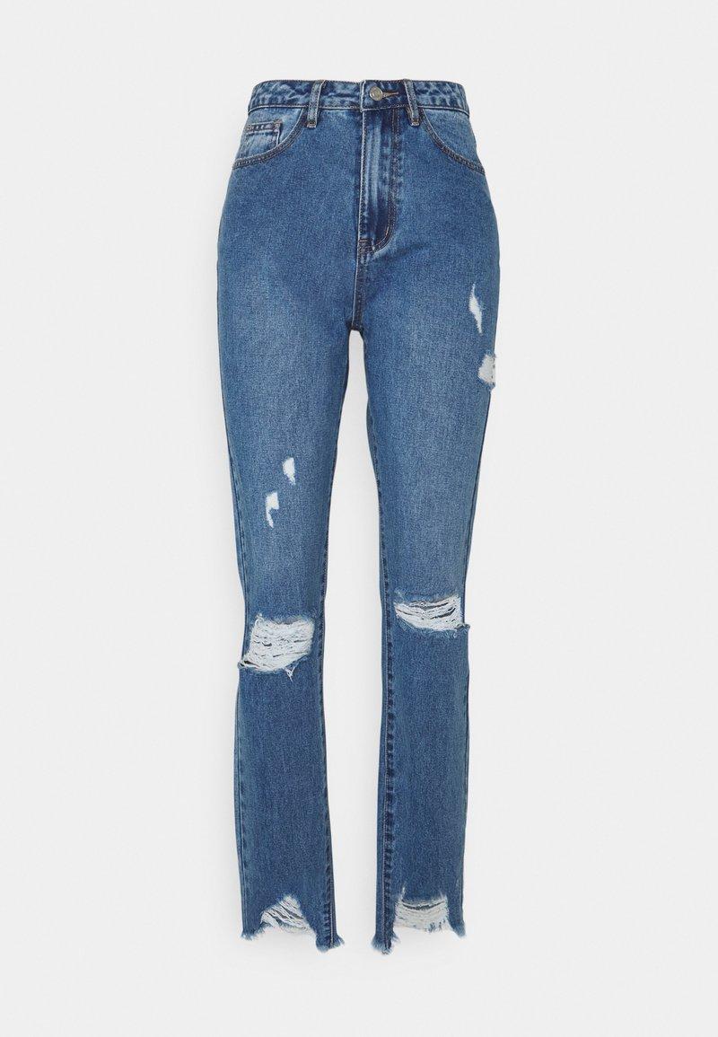 Missguided Petite - SLIM STRIAGHT THIGH SLASH - Jeans straight leg - blue