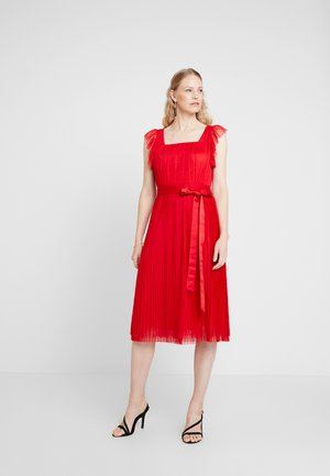 PLEATED MIDI DRESS WITH RUFFLE SLEEVE AND TIE - Cocktail dress / Party dress - red