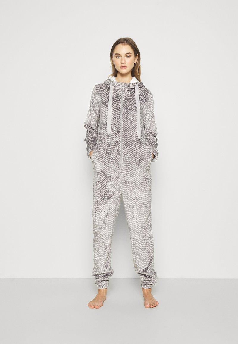 Hunkemöller - ONESIE HERRINGBONE - Pyjamas - warm grey melee