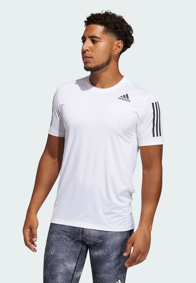 TECHFIT 3-STRIPES FITTED T-SHIRT - T-shirt sportiva - white