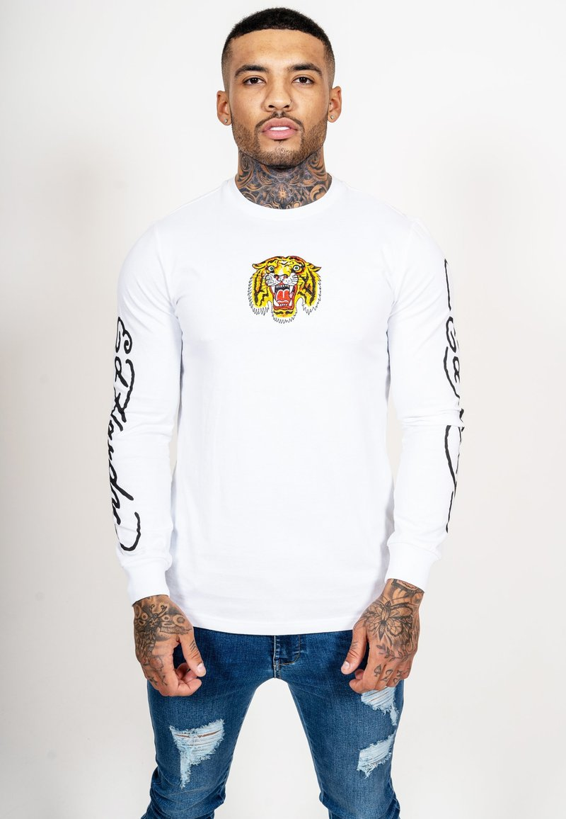 Ed Hardy - TIGER LOS LONG SLEEVE T-SHIRT - Long sleeved top - white