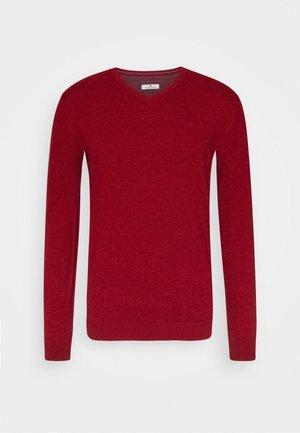 V NECK  - Sweter - spicy red melange