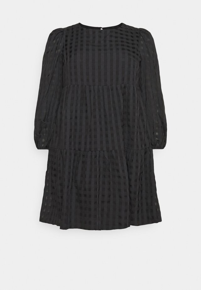 LADIES DRESS TONAL CHECK - Kjole - black