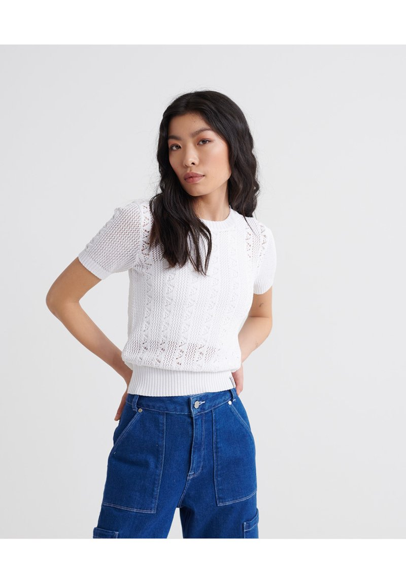 Superdry - BELLA POINTELLE - T-shirts print - chalk white
