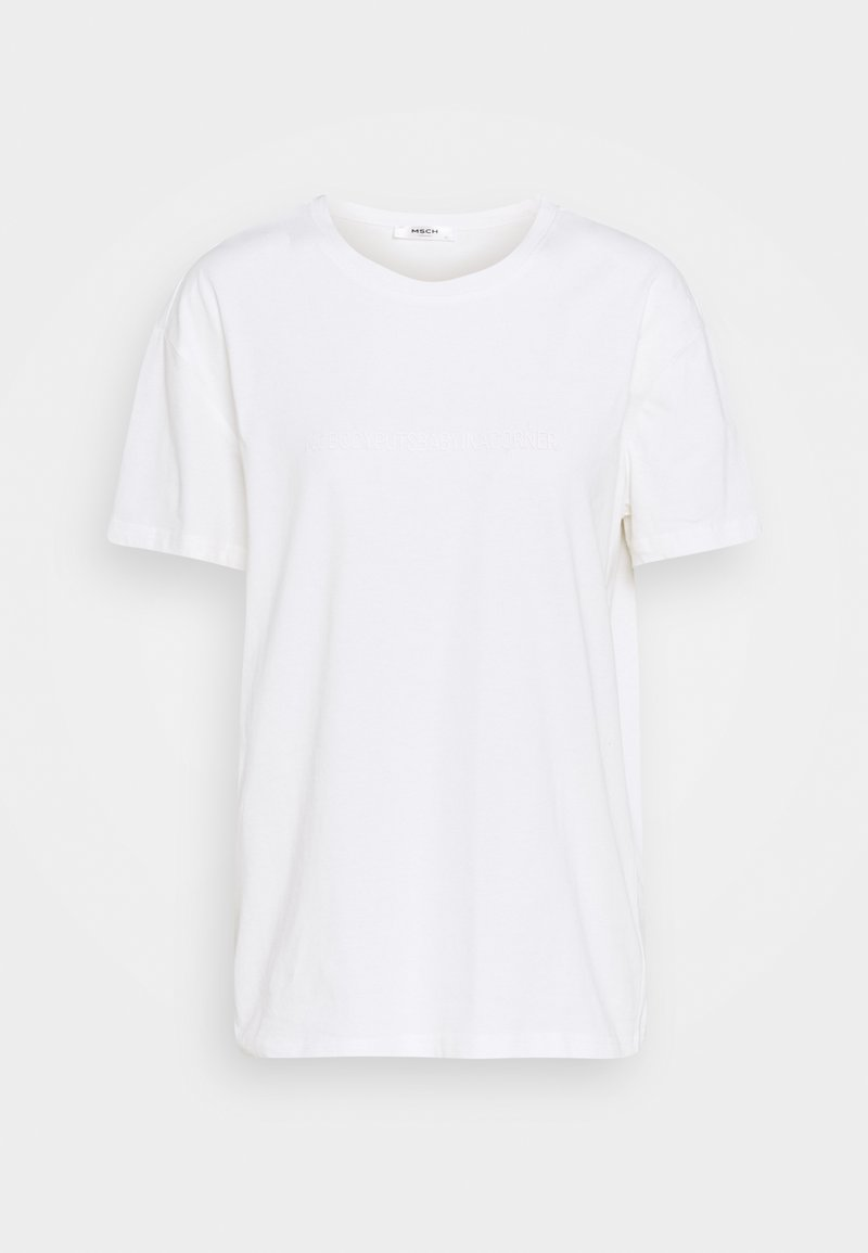 Moss Copenhagen - LIV RUBBER PRINT TEE - Basic T-shirt - egret