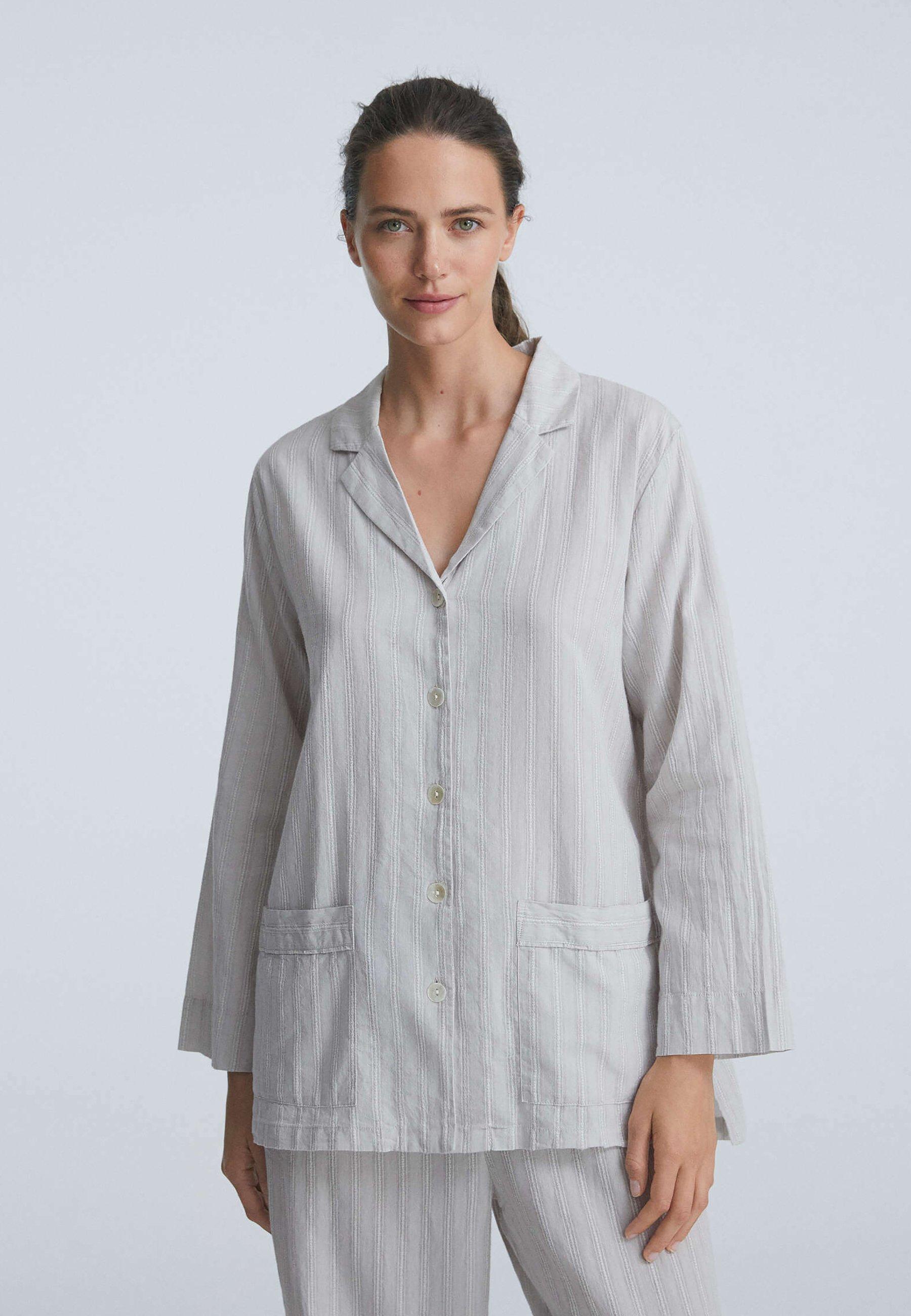 Damen TEXTURED STRIPE LONG-SLEEVED - Nachtwäsche Shirt