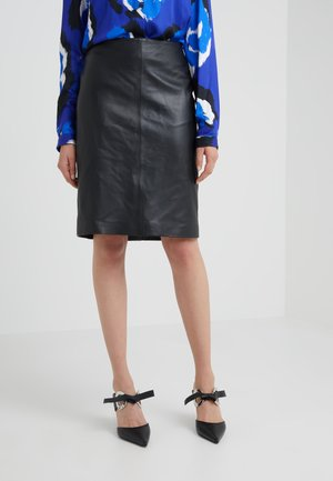 HANNAH LEATHER SKIRT - Gonna a campana - black
