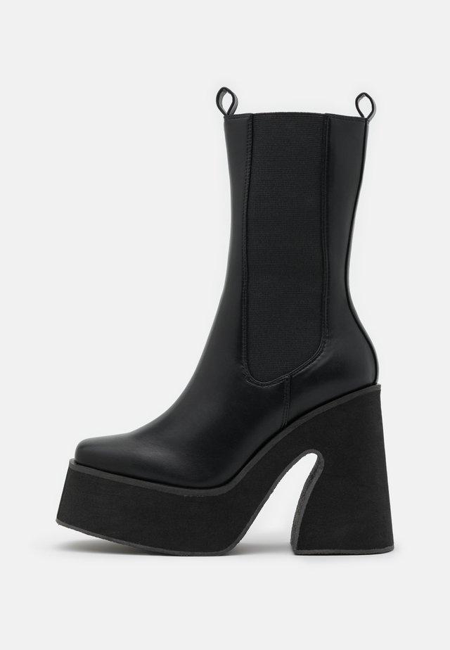 VEGAN - High heeled ankle boots - black