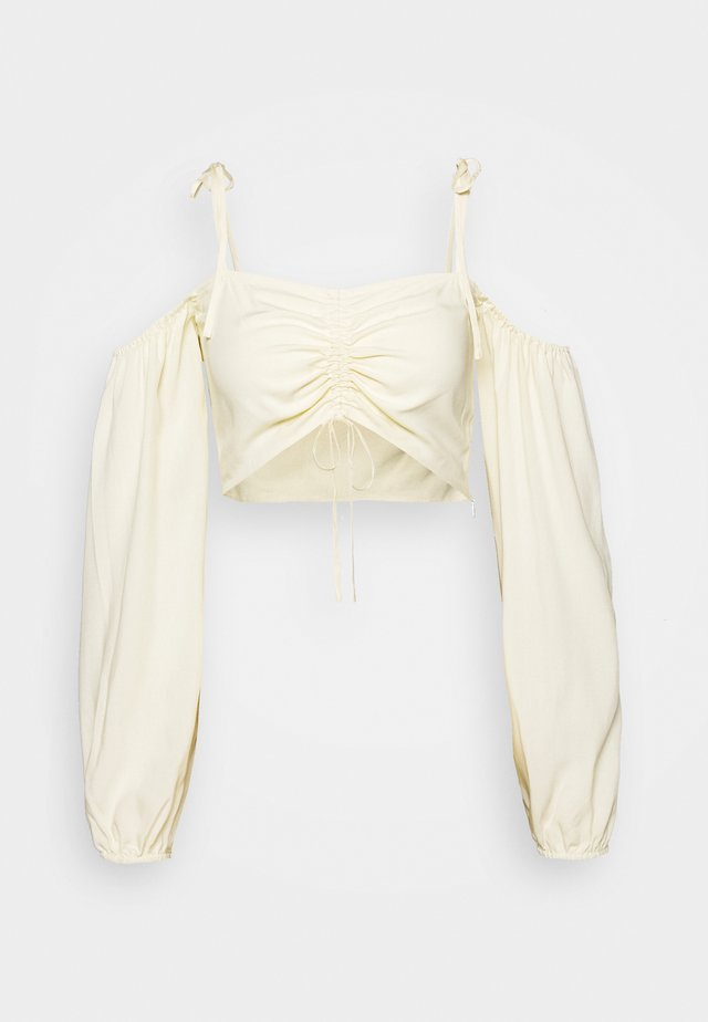 PAMELA REIF X NA-KD TIE DETAIL CROPPED  - Bluser - cloud cream