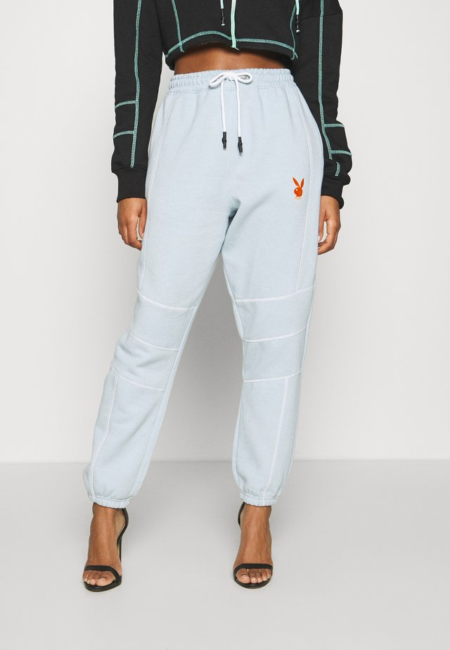 PLAYBOY CONTRAST STITCH - Tracksuit bottoms - dusky blue