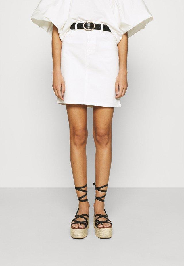 SLFKENNA SKIRT - Mini skirt - white denim