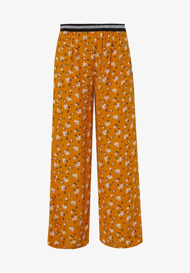 WE FASHION MÄDCHENHOSE MIT LEOPARDENMUSTER - Trousers - yellow