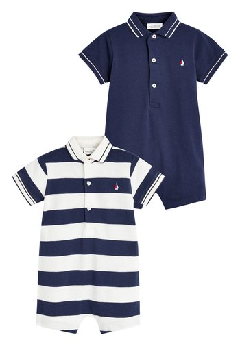 2 PACK STRIPE POLO ROMPERS