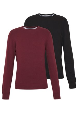2 PACK  - Strickpullover - black/bordeaux