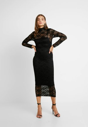 HIGH NECK LONG SLEEVE MIDI - Cocktailkjole - black