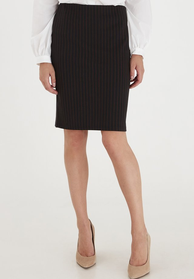 FRNELANO - Pencil skirt - black with yellow