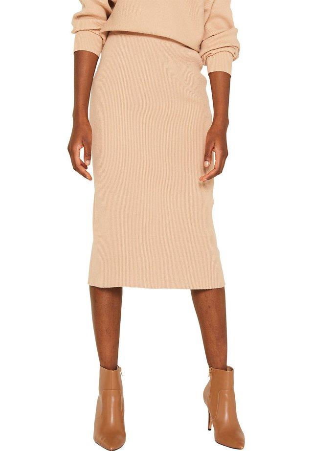 MIT RIPP-STRUKTUR - Pencil skirt - light beige