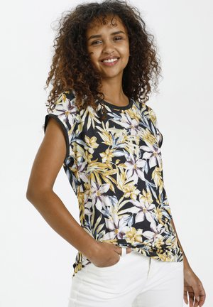 BPGUNILLA - Print T-shirt - black - yellow/purple flower
