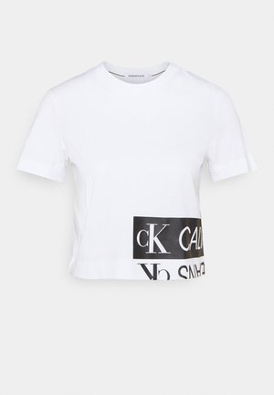 MIRRORED LOGO BOXY TEE - Print T-shirt - bright white/black