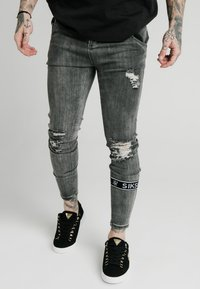 SIKSILK - BURST KNEE - Jeans Skinny Fit - washed black - 0