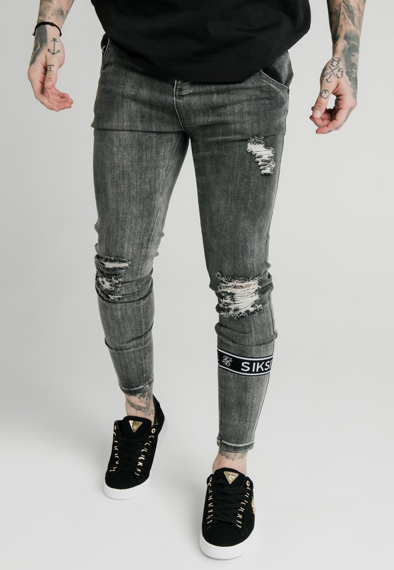 SIKSILK - BURST KNEE - Jeans Skinny Fit - washed black