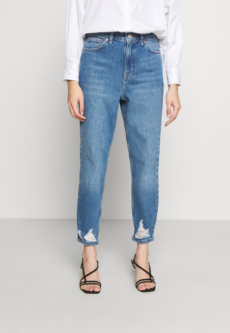 Topshop Petite - MOM RIP HEM - Jeansy Relaxed Fit - blue denim