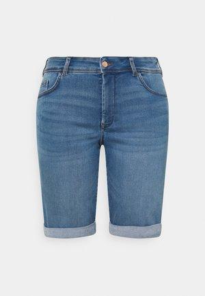 WITH TURN UP - Denim shorts - clean raw blue denim