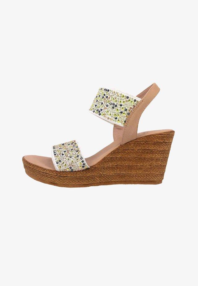 ELASTIC - Wedge sandals - bianco