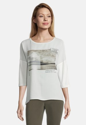 MIT AUFDRUCK - Long sleeved top - cream/nature
