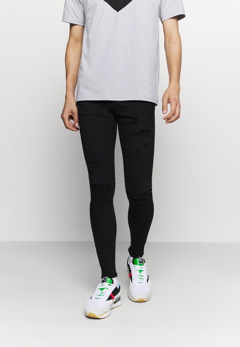 Gabba - ZIP DESTROY  - Jeans Skinny Fit - blak denim