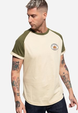 MIT RAGLAN-DESIGN CALIFORNIA BEAR - T-shirt print - olivgrün