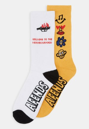 NEIGHBOURHOOD BURNOUT 2 PACK - Socks - white/yellow
