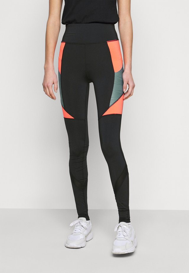 ONPALANI TRAINING TIGHTS - Legíny - black/goblin blue/fiery coral