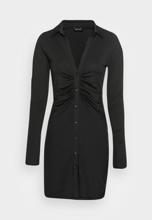 COLLAR DRESS - Jersey dress - black