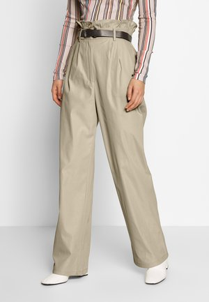 STRAIGHT PAPERBAG PANTS - Trousers - beige